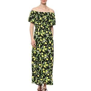 Tropical Hawaiian Print Off Shoulder Maxi Dress